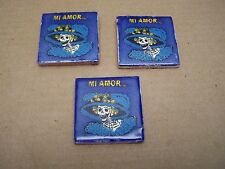 """Lot of 3 Day of the Dead Handpainted Tile - Catrina Head """"Mi Amor"""" - Mexico"""