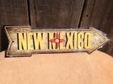 """New Mexico State Flag This Way To Arrow Sign Directional Novelty Metal 17"""" x 5"""""""