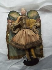 """18th-19th c. Antique Very Rare Creche Doll Angel With Painted Wings 6"""" Tall"""