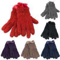 Women's Knit Winter Gloves w/ Fur lining Warm Lady Girl Thick Heavy Duty