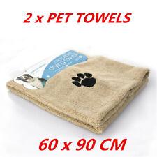 2 x Pet Dog Cat Microfiber Towel Bath Beach Drying Dry MicroFibre Towels Blanket