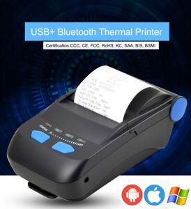 Portable USB + Bluetooth Thermal Receipt Printer 58mm Barcode QR code Printer