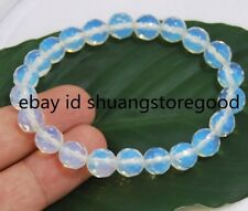 10mm Faceted Opal Moonstone Round Gems Beads Bangle Bracelet 7.5'' AAA+