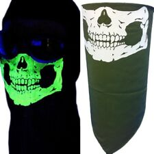 OLIVE OD GLOW IN THE DARK SKULL FACE NECK COVER MASK SCARF VELCRO®BRAND SECURE L