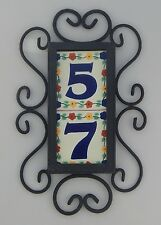 2 FLOWERS Mexican Ceramic Number Tiles & Vertical Iron Frame