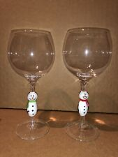 Hand Crafted 16 Oz Wine Glasses Blown Glass Snowman Stem