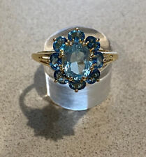 9ct yellow gold ~ Blue Topaz Cluster Ring ~ Size V