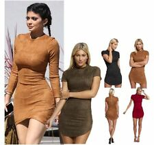 WOMENS LADIES SHORT SLEEVE HIGH NECK CURVED HEM TUNIC SUEDE BODYCON MINI DRESS