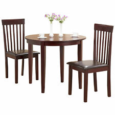 Mahogany Extending Extendable Dining Table and Chair Set with 2 Leather Seats