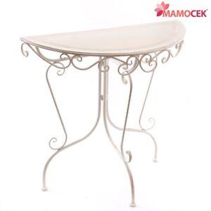 TAVOLO CONSOLLE Ingresso Mezzaluna FERRO bianco avorio 80x36 h76 tavolino Shabby