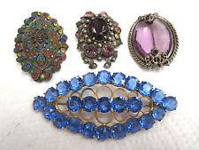 Vtg Czeck Lot of Brooches Multi Colors & Amethyst Colored Glass Large Sizes