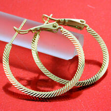 FS645 GENUINE REAL 18K YELLOW G/F GOLD SOLID CLASSIC ITALIAN STUD HOOP EARRINGS