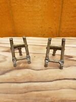 Pair 2 Vintage Ornate ITALY Gold Brass Metal Picture Frame Easel Holder Stand