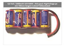 6,0 Volt / 3400mAh SCR NiMH - Akkupack HighVoltage pa mit 150mm langem 2,5mm≤ Si