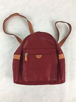 BRIC'S Red Leather Trim Drawstring BackPack Sling Travel Bag