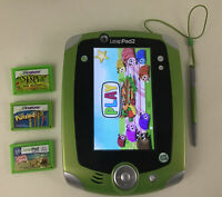 Leappad 2 Handheld Game Console Learning Toy Lot with 3 Games Case Leap Frog