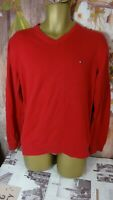 TOMMY HILFIGER RED MENS V NECK JUMPER SIZE LARGE L DI