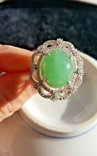 Genuine Light Geen 11.6ct Jadeite Jade (Type A) 925 Silver Ring SIZE Adjustable