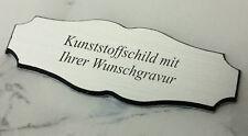 kleines TÜRSCHILD Haustürschild silber - 70x26mm selbstklebend- mit WUNSCHGRAVUR