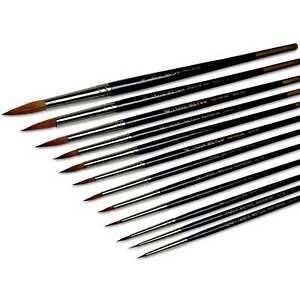 Rotmarderpinsel ★ Größen 000 bis 12 ★ gummiert u. Schutzkappe ★ Nickel-Messing