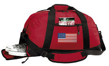 American Flag Duffle Bag USA PATRIOTIC GYM or Overnight DUFFEL BAGS-Shoe Pocket!