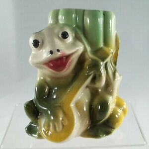 Vintage Happy Frog Playing a Guitar Planter