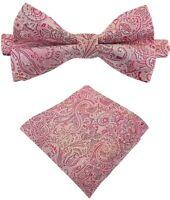 Fliege + Einstecktuch Schleife Querbinder Binder de Luxe 460 rosa Krawatte