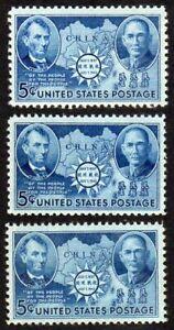 three #906 5¢ Sun Yat-sen Chinese Resistance MNH