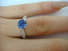 1.26CT AAA TANZANITE SOLITAIRE & DIAMONDS RING, 18K GOLD KNIFE EDGE SETTING