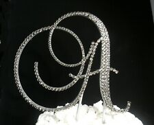 "Silver Foiled  Crystals 6"" Wooden Wedding Cake Topper  Monogram Letter ""A"""