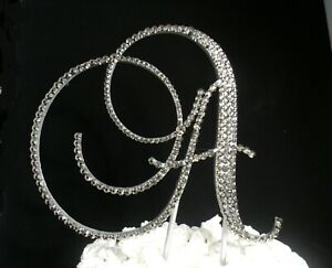 """Silver Foiled  Crystals 6"""" Wooden Wedding Cake Topper  Monogram Letter """"A"""""""