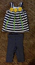 Bonnie Baby Toddler Girl Capri Outfit Size 24M Navy Blue White W Yellow Flowers