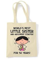 World Best Little Sister 50th Birthday Present Shoulder ToteBag - Gifts For Her