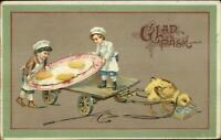 Easter Fantasy Kid Chefs Cooking Gianty Chick Eggs c1910 Postcard