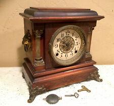 Antique 1880 Patent Seth Thomas Admantine Lion Head Mantle Clock W/Brass Accents