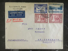 1935 Greece Airmail Cover to Reichenberg Czechoslovakia