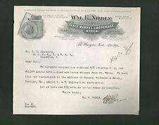 Wm. K. Noble Co. * signed 1909 letter * barrels staves hoops Fort Wayne Indiana