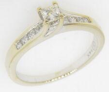 14k White Gold 5/8 Ct Princess Cut Solitaire Diamond Engagement Estate Ring