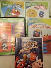 LOT OF FIVE SESAME STREET DVD'S - ONE DOUBLE DISC SET - NICE USED CONDITION