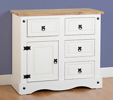 Seconique CORONA White & Distressed Waxed Pine 1 Door 4 Drawer Sideboard