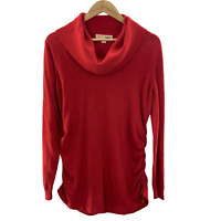 MICHAEL Micheal Kors Women's Red Long Sleeve Tunic Top Size XL Cowl Neck