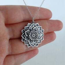 Lotus Flower Mandala Necklace 925 Sterling Silver Symmetrical Pendant Petals NEW