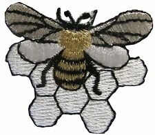 """#3443 1-5/8"""" Gold,Silver Bee,Bee Hive Embroidery Applique Patch"""