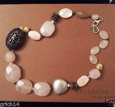 SILPADA MOTHER OF PEARL CARVED BONE SHELL PALM WOOD COCO BEAD NECKLACE N1819