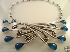 Silver Blue Glass Necklace Mexico Vintage Design Taxco Mexican 925 Sterling
