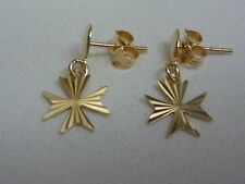 new 18ct yellow gold maltese cross earring with diamond cut stud drops