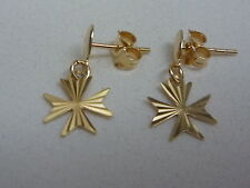 new 18ct yellow gold maltese cross earring with diamond cut stud drops