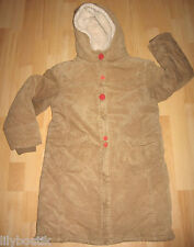 TEX - Manteau en velours lisse beige, capuche, fourré - Taille 12 ans - TBE !!