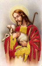 Good Shepherd•Jesus holding Lamb & Staff•SILK EMBROIDERED Spain POSTCARD 3x5