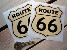 ROUTE 66 Car STICKERS 85mm Pair Black & Cream Cross USA American Mother Road